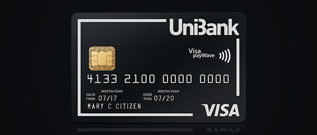 Black Visa Credit Card with the UniBank Logo