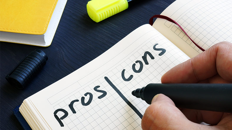 Writing a pros and cons list about life's big expenses and how to manage them.
